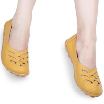 Casual Summer Flat Shoes Women Genuine Leather Hollow Soft Soled (Yellow) - intl