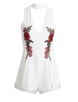 Cyber New Fashion Women Halter Deep V-Neck Sleeveless Floral Embroidery Short Romper Jumpsuit ( White ) - intl