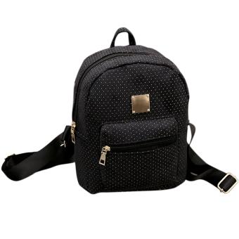Woman Polka Dot PU Leather Backpack (Black) (Intl)