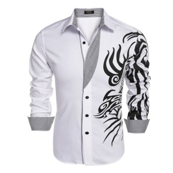 Cyber COOFANDY Men Long Sleeve Turn Down Neck Print Loose Tops Casual Loose Cotton Button Down Shirts(White) - Intl