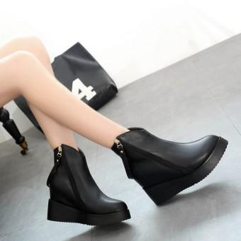 2016 Women Winter Wedge Zip Ankle Boots Leather Shoes Platform Hidden Heel Shoes - Intl