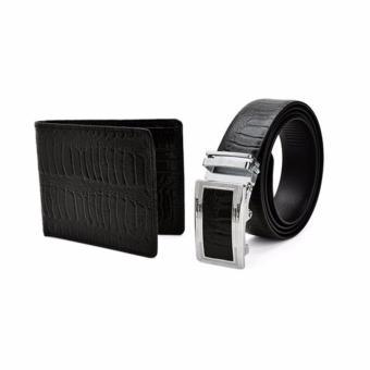 Bộ ví và thắt lưng nam da thật LAKA LKCB07 ( Đen đà điểu )