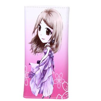 Women Girl PU Leather Wallet Lady Long Card Holder Handbag Bag Pure(02) - intl