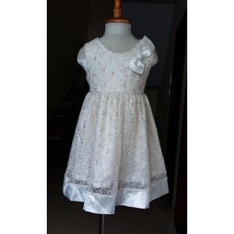 Đầm xòe đính hoa bé gái 2 đến 5 tuổi Tri Lan DBG067 (Be)