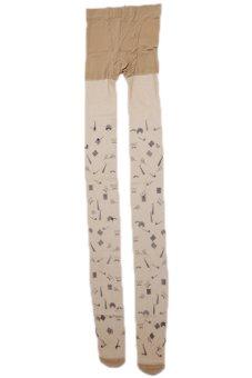LALANG Women Printed Ultra-thin Pantyhose Stockings Magic Cap Multicolor - intl