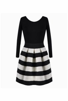 Sunweb Long Sleeve Stripe Mini Dress (Black White) - intl