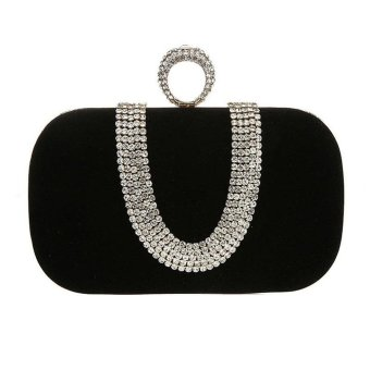 niceEshop Womens Velvet Rhinestone Evening Cocktail Clutch Bags With One Ring Black - intl