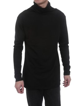 Linemart Men Casual Long Sleeve High Neck Solid Pleated Slim Pleated Pullover T-Shirt ( Black ) - intl