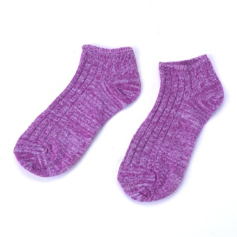 Moonar Vintage Thick Thread Ankle Socks Sweet- Colored Cotton Boat Socks For Women (Purple) - intl