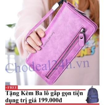 Ví cầm tay nữ nhiều ngăn CDV01 (hồng đậm) +Tặng kèm balo du lịch gấp gọn