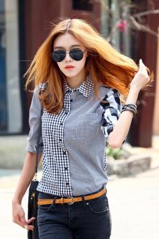 Asymmetric Spell Color Plaids Lapel Button Shirt - Intl