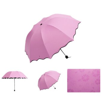 Lady Princess Magic Flowers Dome Parasol Sun/Rain Folding Umbrella Pink