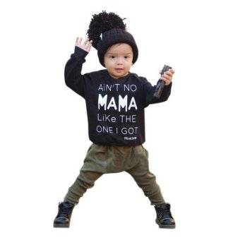 Baby Kids Set Clothes Long Sleeve Letter Print T-shirt +Pants Outfits Set - intl