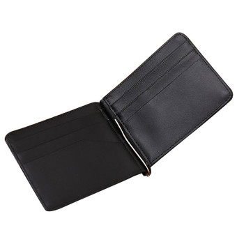 Luxury Retro Mini Neutral Fold Leather Wallet Card Holder Wallet Purse Black