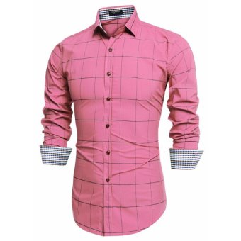 Cyber COOFANDY Men Fashion Turn Down Collar Long Sleeve Plaid Cotton Button Down Casual Shirts - Intl