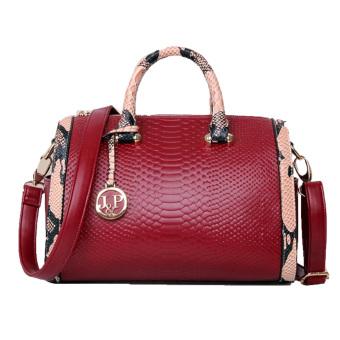 Women Ladies Large Capacity Snake Pattern PU Leather Tote Handbag Shoulder Messenger Bag Red (Intl) - intl