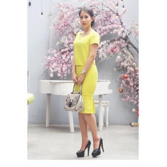 Đầm công sở Cocoxi màu vàng 18BD04VC