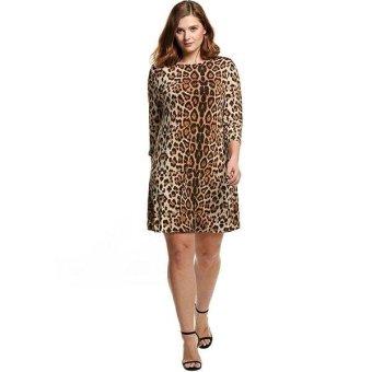 Linemart Meaneor Women Plus 3/4 Sleeve Leopard Shift Dress Casual Leisure Loose Knee Dress XXL-4XL ( Leopard ) - intl