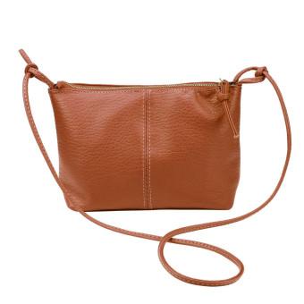 Women Faux Leather Satchel Shoulder Bag Messenger Tote Handbag Brown - Intl