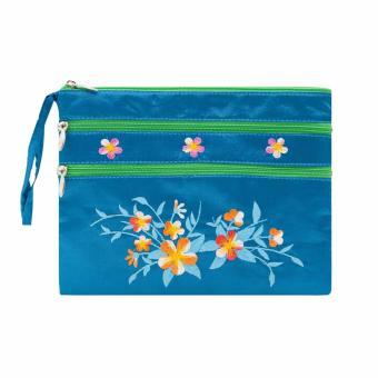 Ví cầm tay 3 khóa Hoian Gifts vải lụa thêu hoa (xanh ngọc) HA-50K