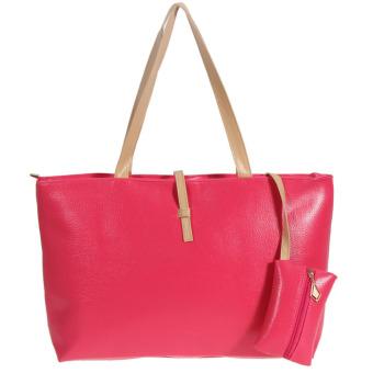 New Lady Women PU Leather Handbag Shoulder Bag Tote Satchel Bag(rose red) (Intl)