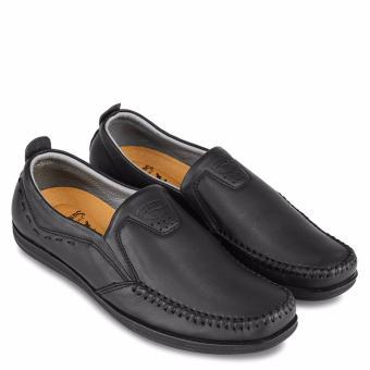 Giày mọi nam da bò SunPoLo LS3026D (Đen)