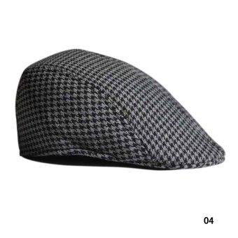 Fancyqube Vintage Grid Pattern Berets Leisure Hat 04 - Intl