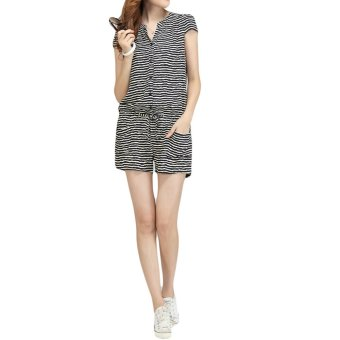 Korean Fashion Women Rompers Short Sleeve Elastic Waist Short Pants Jumpsuits Stripe - Intl