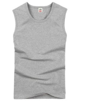 Men's Tank Tops Fashion 100% Cotton Brand Sleeveless Undershirts For Male Bodybuilding Tank Tops White Casual Summer Vest (Grey) - intl