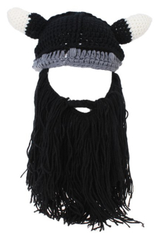 LALANG Crochet Knitted Beanie Viking Hat Pointed Cap (Black)
