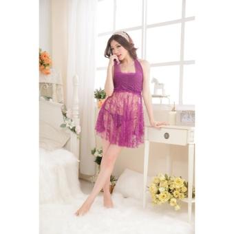 Áo đầm ngủ ren nhún ngực CDAN05 Kim Phát (tím)