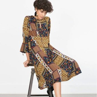 Women Dress Casual Non-Localized Square Print (Picture Color) - Intl