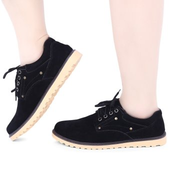 England Style Round Toe Lace Up Solid Color Male Shoes(Black) - intl