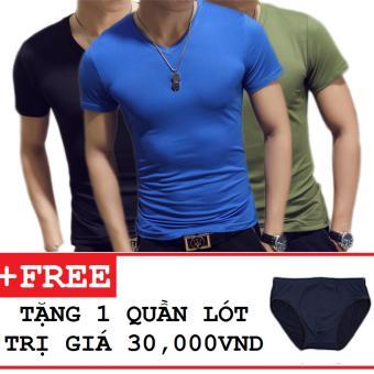 Combo 3 áo thun nam body cổ tim tặng kèm quần lót ( Đen , Xanh Dương , Xanh Rêu )