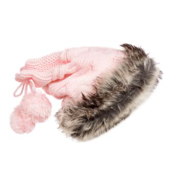 2015 Hot sell Women Knit Hat Winter Warm Crochet Hat Rabbit Scarf Pink (Intl)