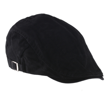 Men Women Beret Buckle Flat Cap Cabbie Driving Newsboy Gatsby Golf Hat Black - Intl