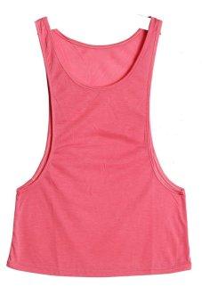 Lalang Sleeveless Loose Gilets Pink - intl