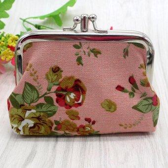 Womens Retro Vintage Flower Small Wallet Card Holder Coin Purse Bag - intl