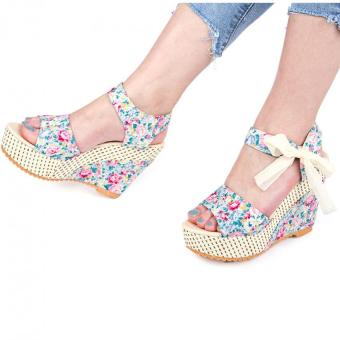 Summer Ladies Wedge Heel Sandals Flower Print Bowknot Lace Up Water Resistance (Blue) - intl