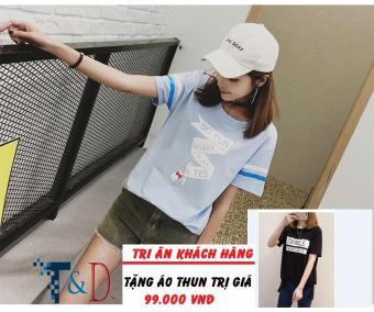 Áo Thun Nữ In Hình Sofun Cá Tính D374 Trần Doanh ( Màu Xanh ) + Tặng Áo Thun In Hình T&D Cao Cấp
