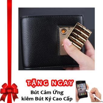 Bóp Ví Da Nam Cao Cấp Kiêm Bật Lửa Hồng Ngoại Cá Tính Kèm Cáp Sạc USB F91 ((Đen - Vàng (Mẫu ngẫu nhiên)) + Tặng bút cảm ứng kiêm bút ký