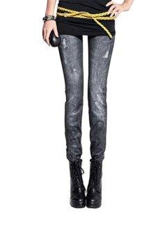 Quần legging giả jeans rách nhẹ Huy Kiệt LG01 (Đen)