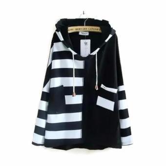 Áo khoác hoodie nữ tay dài đen sọc trắng LTTA122