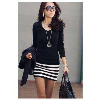 Cyber Zeagoo Stylish Lady Women's Casual Long Sleeve Sexy Bodycon Slim Mini Dress ( Black ) - Intl