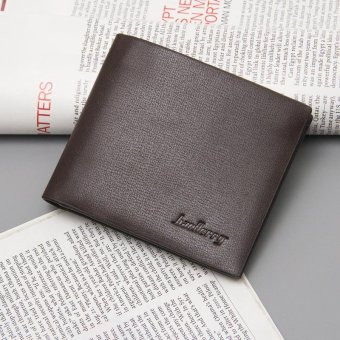 Men's Fashion Short Wallet Purse Casual Men Mini Wallets Leather+PU Wallet Card Holder, Brown - intl
