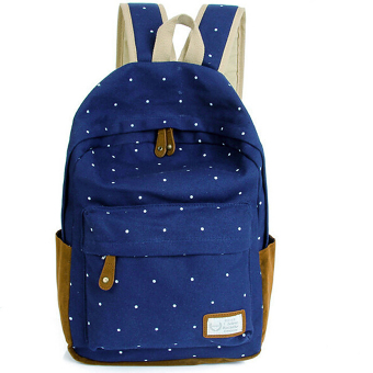 Canvas Backpack Satchel Rucksack Dot Printing Schoolbag Leisure Travel Shoulder Bag Dark Blue - intl