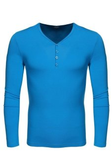 Cyber COOFANDY Men Casual V-Neck Long Sleeve Pure Color Cotton Slim Basic Tee Leisure Tops T-shirt ( Blue ) - Intl