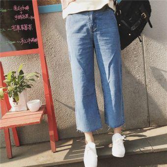 Ankle Length Fringed Baggy Jeans (Light blue) - Intl - intl