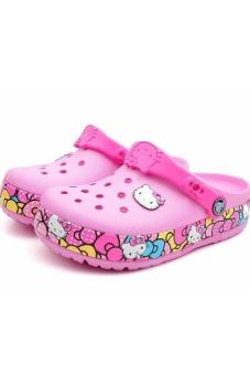 Xăng đan bé gái Crocs - CrocsLights Hello Kitty Ribbon Clog AS Carnation (Hồng)