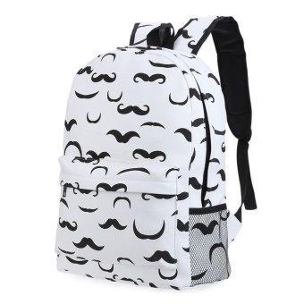 Print Hardware Link Zipper Portable Backpack for Unisex(Mustache) - intl